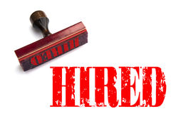 Rubber stamp with the word HIRED. Rendering of a rubber stamp with the word HIRED in red ink Royalty Free Stock Photography