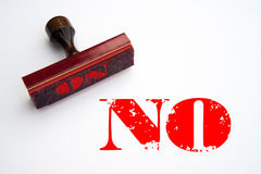 Rubber stamp with the word NO. Rendering of a rubber stamp with the word NO in red ink Royalty Free Stock Images