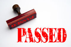 Rubber stamp with the word PASSED. Rendering of a rubber stamp with the word PASSED Royalty Free Stock Images