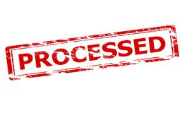 Processed. Rubber stamp with word processed inside, illustration stock illustration