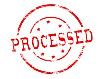 Processed. Rubber stamp with word processed inside, illustration vector illustration