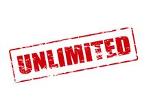 Unlimited. Rubber stamp with word unlimited inside,  illustration Royalty Free Stock Image