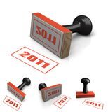 Rubber stamp with year 2011 as motif Royalty Free Stock Image