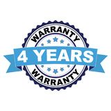 Rubber stamp with 4 years warranty concept. Blue black rubber stamp with 4 years warranty concept Stock Photography