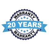 Rubber stamp with 20 years warranty concept. Blue black rubber stamp with 20 years warranty concept Royalty Free Stock Image