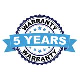 Rubber stamp with 5 years warranty concept. Blue black rubber stamp with 5 years warranty concept Stock Images