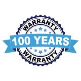 Rubber stamp with 100 years warranty concept. Blue black rubber stamp with 100 years warranty concept Stock Photography