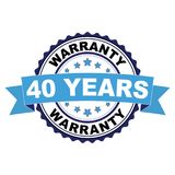 Rubber stamp with 40 years warranty concept. Blue black rubber stamp with 40 years warranty concept Stock Photos