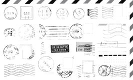Rubber stamps. Isolated grunge postage marks collection for paper mail, easy to select and recolor desired element Royalty Free Stock Photography