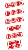 Rubber Stamps. A set of six grungy rubber stamps with different acceptance and rejection phrases Stock Photo
