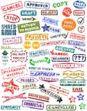 Rubber stamps. Selection of vector rubber stamps with grunge Stock Photography