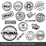 Rubber stamps. Set of different grungy rubber stamps - 16 items Royalty Free Stock Image