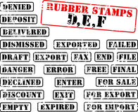 Rubber stamps collection DEF. Collection of rubber stamps with words beginning with letter D, E, F Royalty Free Stock Photography