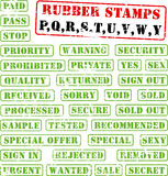 Rubber stamps collection PQ:WY. Collection of rubber stamps with words begining with letter P,Q,R,S,T,U,V,W,Y Royalty Free Stock Image