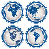 Rubber stamps with Earth globes Stock Photography