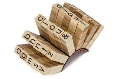 Rubber stamps the English alphabetical, isolated on white backgr Royalty Free Stock Images