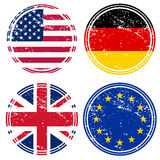 Rubber stamps with flags Stock Photos