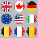Rubber stamps with flags Stock Photo