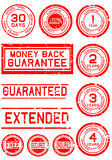 Rubber Stamps for Guarantees. A collection of rubber stamps that show warranty periods guarantees and so on Royalty Free Stock Image