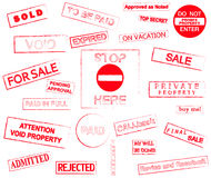 Rubber stamps marks Royalty Free Stock Photo