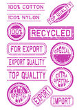Rubber Stamps for Quality Measures. Collection of rubber stamps that can show the quality of some product Stock Illustration