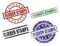 Grunge Textured RUBBER STAMPS Seal Stamps. RUBBER STAMPS seal prints with corroded surface. Black, green,red,blue vector rubber prints of RUBBER STAMPS tag with stock illustration
