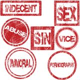 Rubber stamps with sexual conotation Royalty Free Stock Photos