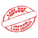 Last day offer. Rubber stamps with text last day offer inside,  illustration Royalty Free Stock Photos