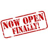 Now open finally. Rubber stamps with text now open finally inside,  illustration Royalty Free Stock Photography