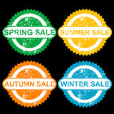 Rubber stamps with text spring sale, sumer sale, autumn sale and Stock Photo