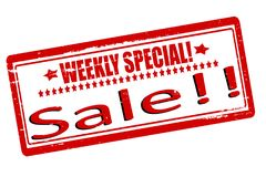 Weekly special sale. Rubber stamps with text weekly special sale inside,  illustration Royalty Free Stock Image