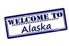 Welcome to Alaska. Rubber stamps with text welcome to Alaska inside,  illustration Royalty Free Stock Photos