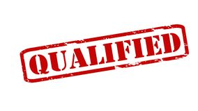Qualified. Rubber stamps with word qualified inside,  illustration Royalty Free Stock Images