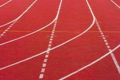 Rubber standard of athletics stadium running track stock photo
