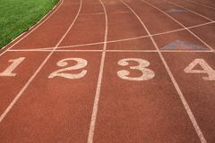 Rubber standard of athletics stadium running track stock photography