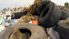 Rubber stingrockor bland annan avskräde i förrådsplatsen Fågel`-s-öga sikt arkivfilmer