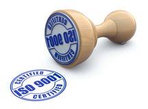 Rubber stämpel med ISO 9001 - illustration 3d Arkivbilder