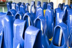 Rubber Swim Fins. Image of newly made rubber swim fins awaiting quality control check in a factory Stock Images