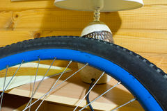 Rubber tire for bicycle with damage Royalty Free Stock Photography