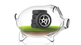 Rubber tire inside transparent piggy bank. 3d rendering Stock Photos