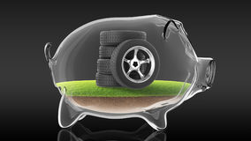 Rubber tire inside transparent piggy bank. 3d rendering Stock Images