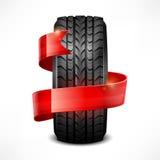 Rubber tire & ribbon Stock Image