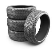 Rubber tire. Wheel 3D, Icon. On white background Royalty Free Stock Images