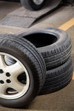 Rubber Tires At Repair Shop Stock Photo
