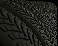 Rubber Tires and Treads. Row or tire treads close-up Royalty Free Stock Image