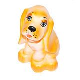 Rubber toy dog with sad snout isolated on white Royalty Free Stock Photo
