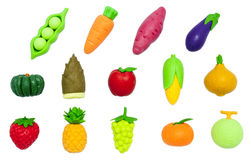Rubber-Toy Fruits And Vegetables Isolated On White Royalty Free Stock Images