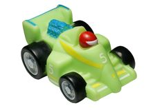 Rubber toy - the racing car. On a white background Stock Images