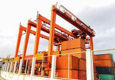 Rubber Tried Gantry Cranes RTG Royalty Free Stock Photo