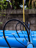 Rubber tube on pvc pipe at hydroponics agriculture farm Stock Photography